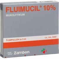 Флуимуцил раствор для инъекций 10% (300 мг / 3 мл)  5 ампул по 3 мл