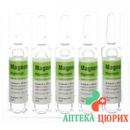 Магнезиокард раствор для в/в инъекций 3 ммоль / 10 мл 10 ампул по 10 мл
