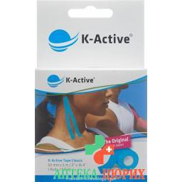 K-active Kinesio Tape 5смx5m Blau Wasserabweisend
