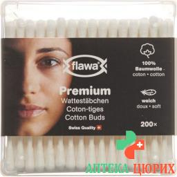 Flawa Premium Wattestabchen доза 200 штук