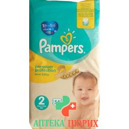 Pampers Prem Prot размер 2 3-6кг Mini Sparp 54 штуки