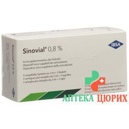 Синовиал раствор для внутрисуставных инъекций 0.8% 2 мл 3 предварительно заполненных шприца