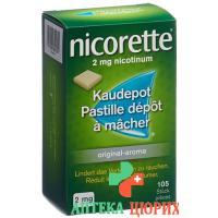 Никоррете оригинал 2 мг 105 жевательных пастилок