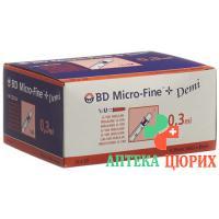 BD Microfine+ Demi U100 Insulin Spritzen 0.30мм x 8мм 100x 0.3мл