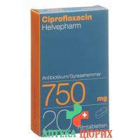 Ципрофлоксацин Хелвефарм 750 мг 20 таблеток покрытых оболочкой