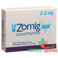 ЗомигНазаль назальный спрей 2,5 мг 2 монодозы