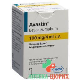 Авастин инфузионный концентрат 100 мг / 4 мл 1 флакон 4 мл