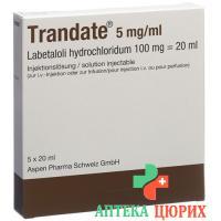 Трандат раствор для инъекций 100 мг / 20 мл 5 ампулпо 20 мл
