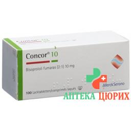 Конкор 10 мг 100 таблеток покрытых плёночной оболочкой