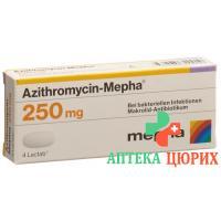 Азитромицин Мефа 250 мг 4 таблетки покрытых оболочкой