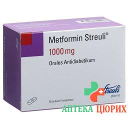 Метформин Штройли 1000 мг 60 таблеток покрытых оболочкой