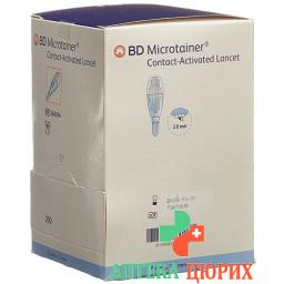 BD Microtainer ланцеты 2мм x 1.5мм Blau 200 штук