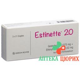 Эстинет-20 3 x 21 таблетке