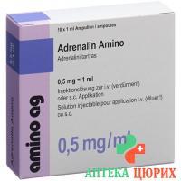 Адреналин Амино 0.5 мг/мл 10 ампул 1 мл раствор для инъекций