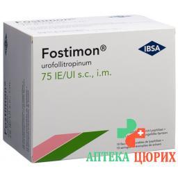 Фостимон сухое вещество 75 МЕ 10 предварительно заполненных шприцев