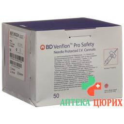 BD Venflon Pro Safety 20г 1.1x32мм Rosa 50 штук