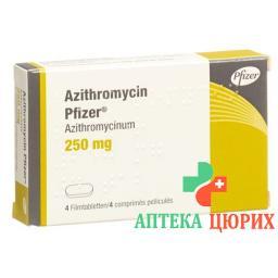 Азитромицин Пфайзер 250 мг 4 таблетки покрытые оболочкой