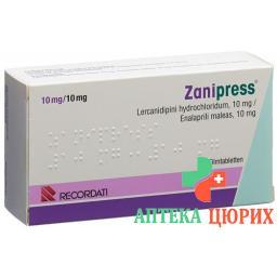 Занипресс 10/10 мг 98 таблеток покрытых оболочкой