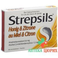 Стрепсилс Мёд и Лимон 24 пастилки