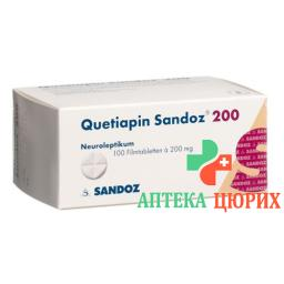 Кветиапин Сандоз 200 мг 100 таблеток покрытых оболочкой