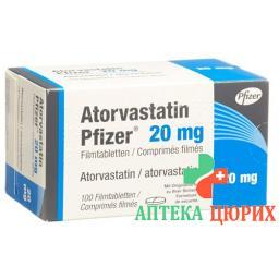 Аторвастатин Пфайзер 20 мг 100 таблеток покрытых оболочкой