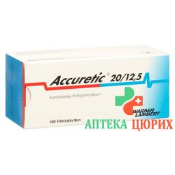 Аккуретик 20/12,5 мг 100 таблеток покрытых оболочкой