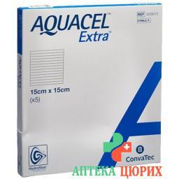 Aquacel Extra Hydrofiber Verband 15x15см 5 штук