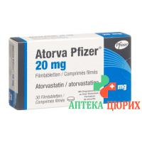 Аторва Пфайзер 20 мг 30 таблеток покрытых оболочкой