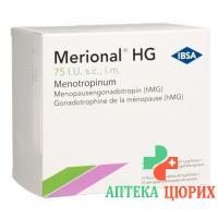 Мерионал HG сухое вещество 75 МE с растворителем 10 предварительно заполненных шприцев