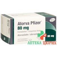 Аторва Пфайзер 80 мг 100 таблеток покрытых оболочкой