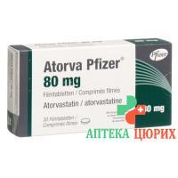 Аторва Пфайзер 80 мг 30 таблеток покрытых оболочкой