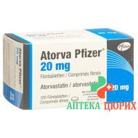Аторва Пфайзер 20 мг 100 таблеток покрытых оболочкой