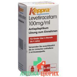 Кеппра пероральный раствор 100 мг/мл флакон 150 мл с дозирующей пипеткой 3 мл