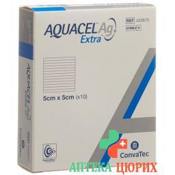 Aquacel Ag Extra Hydrofiber Verband 5x5см 10 штук