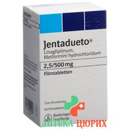 Джентадуэто 2,5 мг / 500 мг 60 таблеток покрытых оболочкой