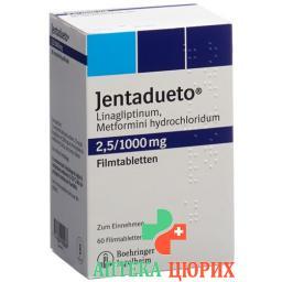 Джентадуэто 2,5 мг / 1000 мг 60 таблеток покрытых оболочкой