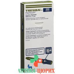 Тресиба ФлексТач раствор для инъекций 200 ЕД/мл 3 предварительно заполненных шприца по 3 мл