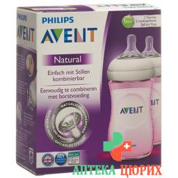 Avent Philips Naturnah-Flasche 2x 260мл Duo Rosa