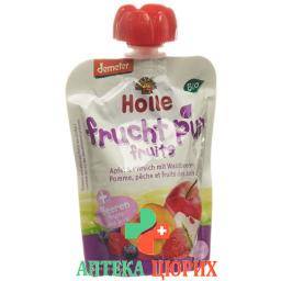 Holle Pouchy Apfel&pfirsich M Waldbeer 90г