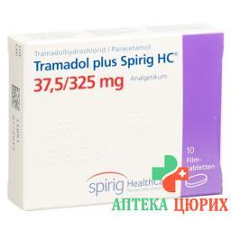 Трамадол плюс Спириг 37.5/325 мг 10 таблеток покрытых оболочкой