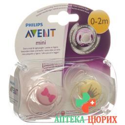 Avent Philips Mini Beruhigungssauger 0-2M Madchen