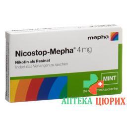 Никостоп Мефа мята 4 мг 24 жевательные пастилки