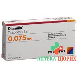 Диамилла 0.075 мг 28 таблеток покрытых оболочкой
