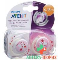 Avent Philips Beruhigungssauger Nacht 6-18 Madchen Pink