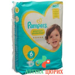 Pampers Premium Prot размер 6 15+kg Tragepack 19 штук