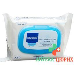 Mustela очищающие салфетки для лица с нормальной кожей 25 штук