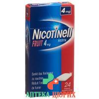 Никотинелл Фруктовая 4 мг 24 жевательные резинки