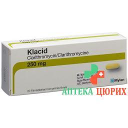 Клацид 250 мг 20 таблеток покрытых оболочкой