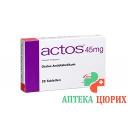 Актос 45 мг 28 таблеток