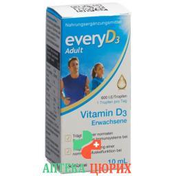 Эвери витамин Д3 для взрослых 600 МЕ без алкоголя 10 мл